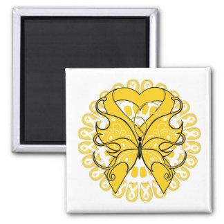 Círculo de la mariposa del cáncer de la niñez de c imán cuadrado
