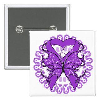 Círculo de la mariposa del cáncer del ESENCIAL de Pin Cuadrado
