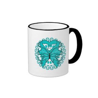 Círculo de la mariposa del cáncer ovárico de cinta taza de café