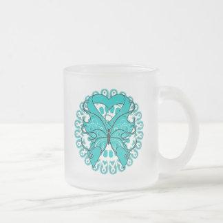 Círculo de la mariposa del cáncer ovárico de cinta tazas de café