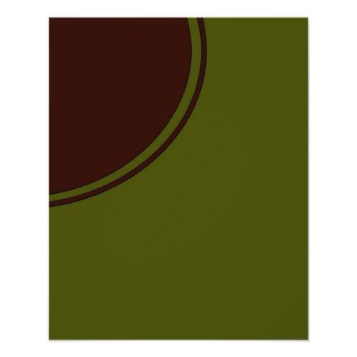 """Círculo de la MOD de Brown del verde verde oliva Folleto 4.5"""" X 5.6"""""""