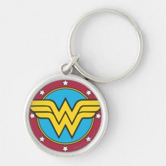 Círculo de la Mujer Maravilla y logotipo de las es Llavero Redondo Plateado