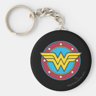 Círculo de la Mujer Maravilla y logotipo de las es Llavero Redondo Tipo Pin