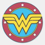 Círculo de la Mujer Maravilla y logotipo de las Pegatinas Redondas
