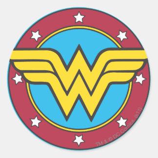 Círculo de la Mujer Maravilla y logotipo de las Pegatina Redonda