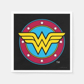 Círculo de la Mujer Maravilla y logotipo de las Servilletas Desechables