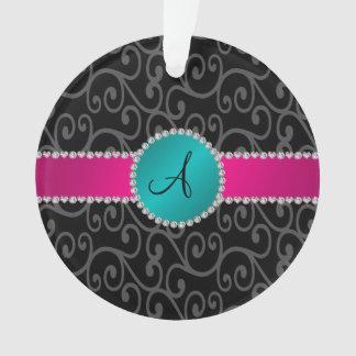 Círculo de la turquesa de los remolinos del negro
