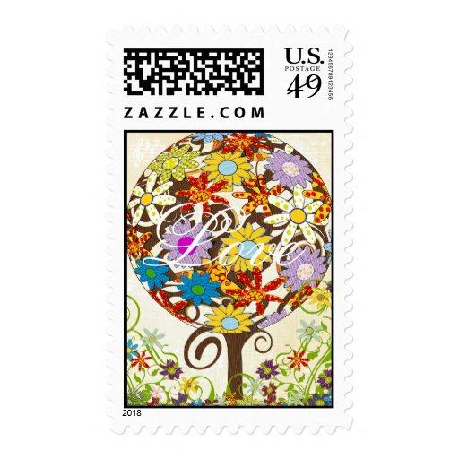 Círculo de las estaciones del árbol de la flor del sellos postales