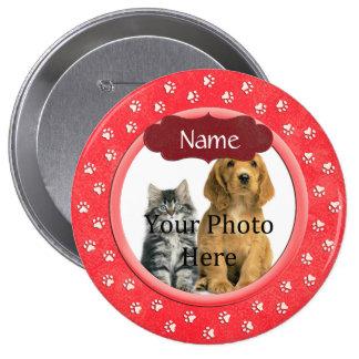 Círculo de las impresiones perro de la pata o del pin redondo de 4 pulgadas