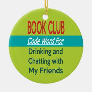 Círculo de lectores - cifre la palabra adorno navideño redondo de cerámica