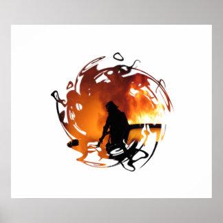 Círculo de llamas impresiones