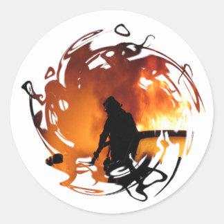 Círculo de llamas pegatina redonda