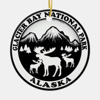 Círculo de los alces de Alaska del parque nacional Adorno Navideño Redondo De Cerámica