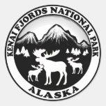 Círculo de los alces de Alaska del parque nacional Pegatina Redonda