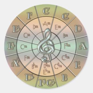 Círculo de los quintos en colores pastel pegatina redonda
