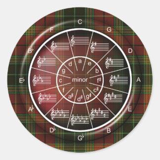 Círculo de los quintos para los músicos en tela pegatina redonda