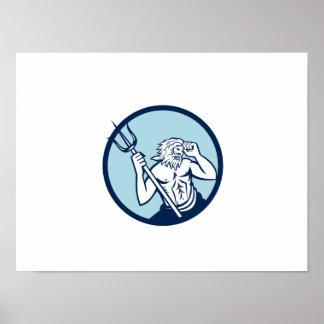 Círculo de Poseidon Trident retro Póster