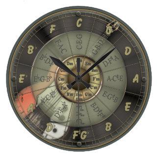 Círculo de quintos - guitarra del vintage reloj redondo grande