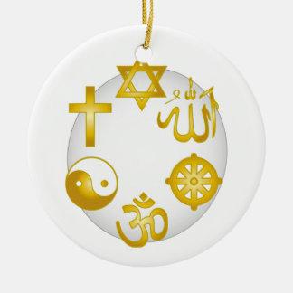 Círculo de símbolos religiosos de oro ornamento de navidad