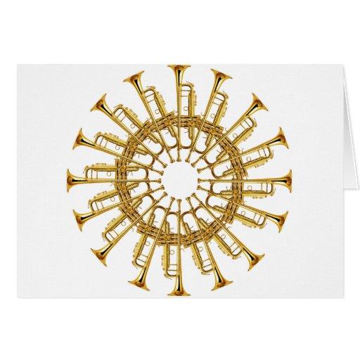 Círculo de trompetas tarjeta de felicitación