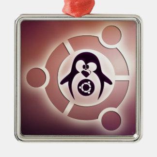 Círculo de Ubuntu Linux del logotipo de los amigos Adorno Navideño Cuadrado De Metal