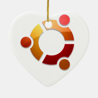 Círculo de Ubuntu Linux del logotipo de los amigos Adorno Navideño De Cerámica En Forma De Corazón