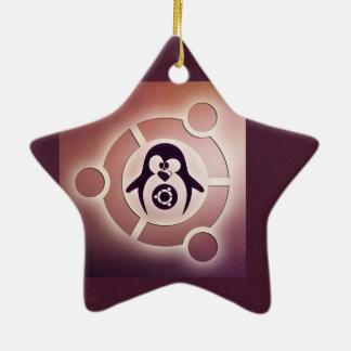 Círculo de Ubuntu Linux del logotipo de los amigos Adorno Navideño De Cerámica En Forma De Estrella