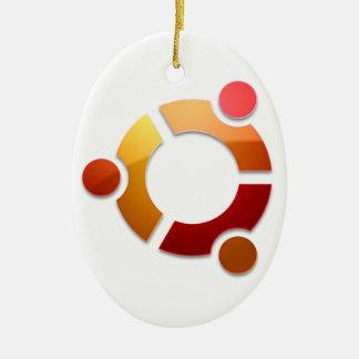 Círculo de Ubuntu Linux del logotipo de los amigos Adorno Navideño Ovalado De Cerámica