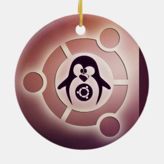 Círculo de Ubuntu Linux del logotipo de los amigos Adorno Navideño Redondo De Cerámica