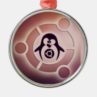 Círculo de Ubuntu Linux del logotipo de los amigos Adorno Navideño Redondo De Metal
