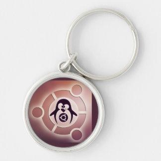 Círculo de Ubuntu Linux del logotipo de los amigos Llavero Redondo Plateado