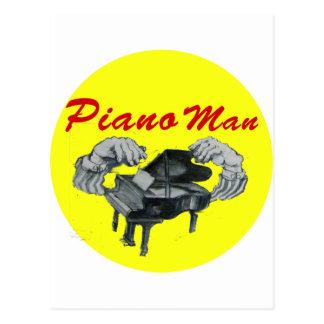 círculo del amarillo del hombre del piano tarjeta postal