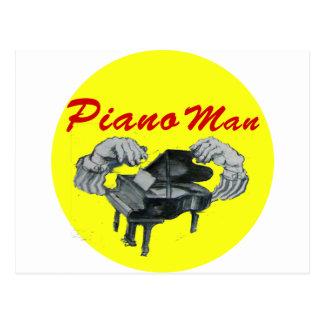 círculo del amarillo del hombre del piano tarjetas postales