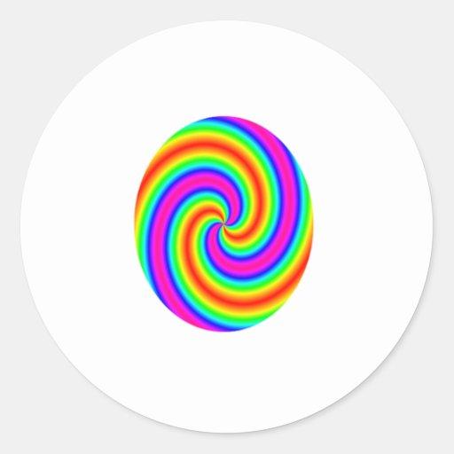 Círculo del arco iris pegatina redonda