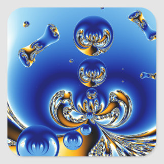 Círculo del arte del fractal de la vida pegatinas cuadradas