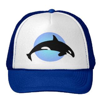 Círculo del azul de la silueta de la orca de la gorra