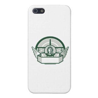 Círculo del biplano del aviador de la Primera iPhone 5 Carcasa