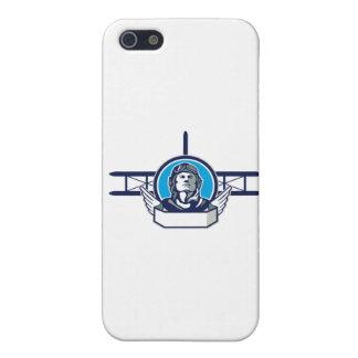 Círculo del biplano del piloto del aviador de la iPhone 5 fundas