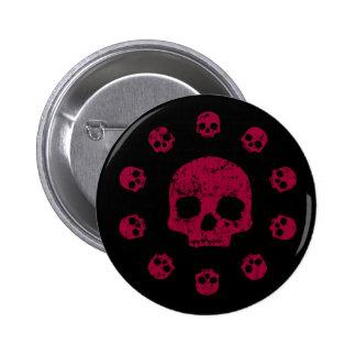 Círculo del botón de los cráneos pin redondo de 2 pulgadas