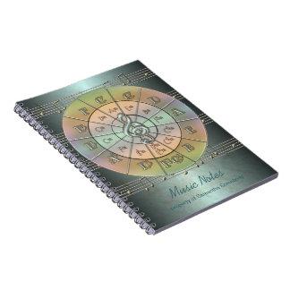 Círculo del diario de la música de los quintos libro de apuntes