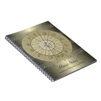 Círculo del diario de la música de los quintos libros de apuntes