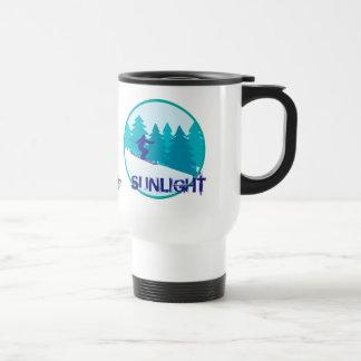 Círculo del esquí de la luz del sol personalizado taza de viaje