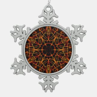 Círculo del fuego adorno de peltre en forma de copo de nieve