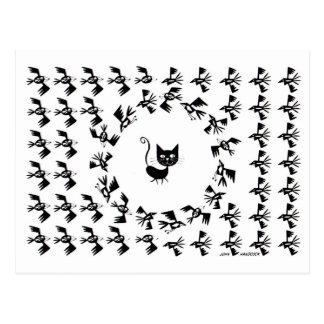 Círculo del gato y del pájaro postales