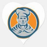 Círculo del gorra del panadero del cocinero del co pegatina de corazón