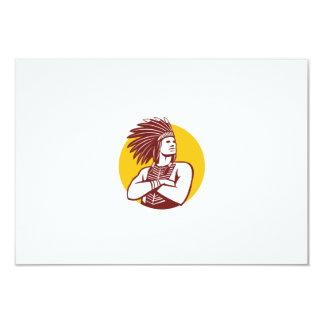 """Círculo del guerrero del jefe indio del nativo invitación 3.5"""" x 5"""""""