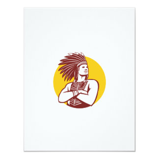 """Círculo del guerrero del jefe indio del nativo invitación 4.25"""" x 5.5"""""""