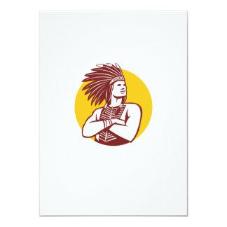 """Círculo del guerrero del jefe indio del nativo invitación 4.5"""" x 6.25"""""""