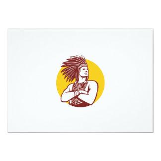 """Círculo del guerrero del jefe indio del nativo invitación 5"""" x 7"""""""