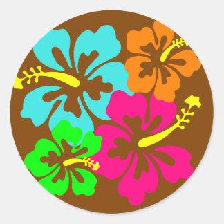 Círculo del hibisco etiqueta redonda